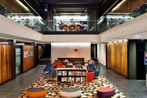 East's somewhat blocky, commercial-looking exterior opens to a cavernous, wood-panelled central atrium furnished with ...