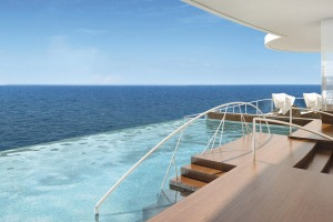 The spa in the Regent Suite of the Seven Seas Explorer cruise liner.
