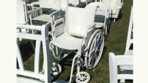 A wheelchair, one of the 185 White Chairs commemorating those killed in the 2011 Christchurch earthquake.