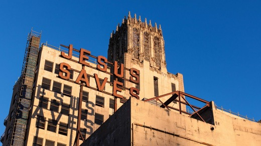 Historic signage at the Ace Hotel, downtown LA.