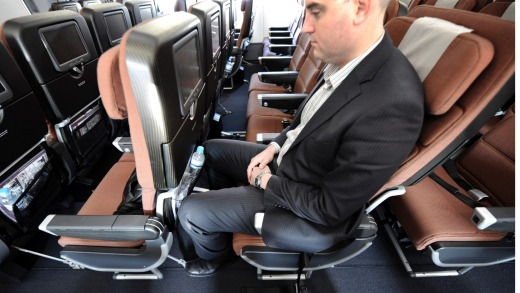 Legroom can vary significantly in economy class from one airline to another, and from one aircraft to another.