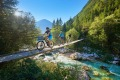 Cycling across the Soca, Slovenia.