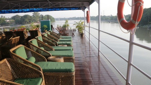Cane chairs on the top deck.