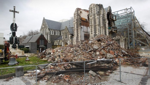 The post-earthquake remains of Christchurch Cathedral.