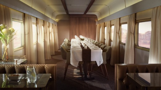 Special occasions can be celebrated in the platinum club banquet dining section of the Indian Pacific train.