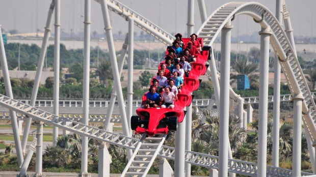 On the fastest rollercoaster in the world at Ferrari World on Yas Island, Abu Dhabi.