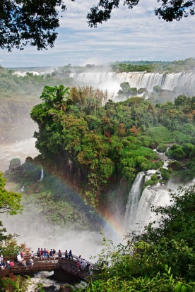 Visitors viewing the spectacular Iguazu Falls from the lower circuit of the Iguazu National Park, a World Heritage Site, ...