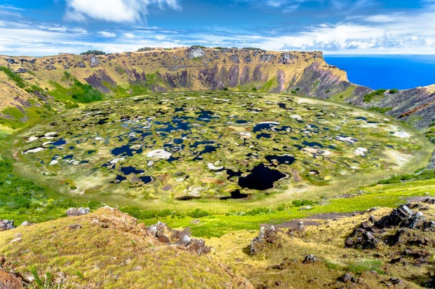 Crater lake of Rano Kau, Easter Island.