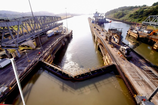 Lock in the Panama Canal used to raise the elevation of passenger and cargo ships, Panama City, Panama.