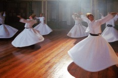 Istanbul, Turkey - June 6, 2012: Traditional ceremony of dervishes, Galata Mevlevihanesi, Istanbul, Turkey