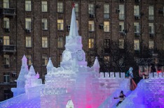 MOSCOW, RUSSIA - JANUARY 7, 2017: An ice sculpture in Moscows Victory Park. Sergei Savostyanov/TASS (Photo by Sergei ...