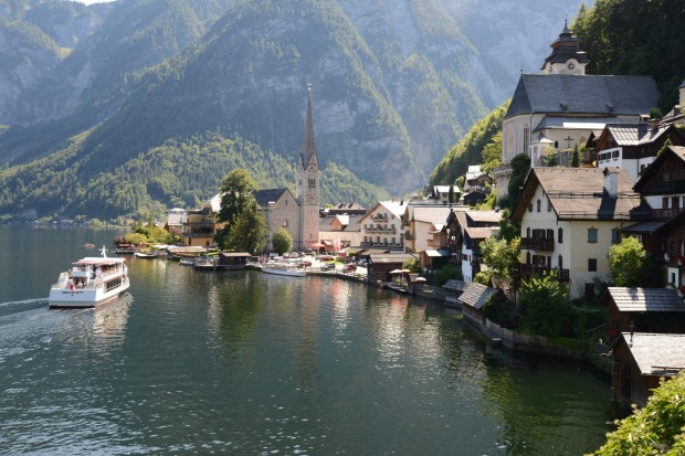 This photo is of Hallstatt a village in Austria's mountainous Salzkammergut region. Its 16th-century Alpine houses and ...