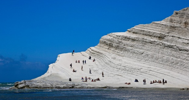 "The Scala dei Turchi, which translates as ""Stair of the Turks"", is a rocky cliff on the coast of Realmonte, near Porto ..."