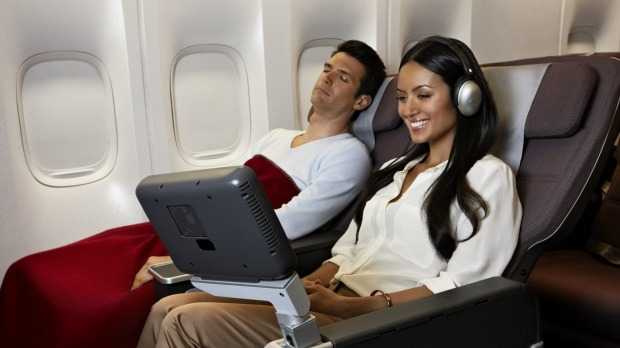 Premium economy on the Qantas Boeing 747-400 is a big step up in comfort from economy thanks to seat padding, width and ...