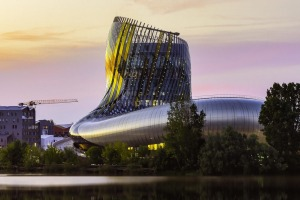 La Cite du Vin is the wine museum of Bordeaux near the Garonne River.