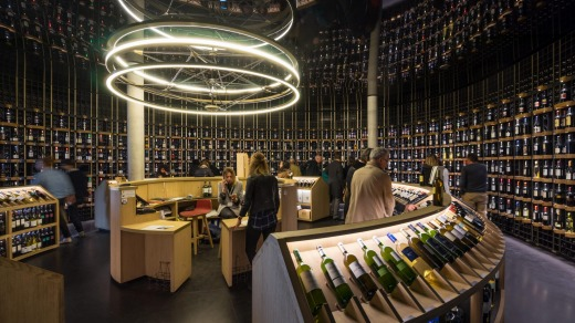Wine shop in La Cite du Vin, Bordeaux.