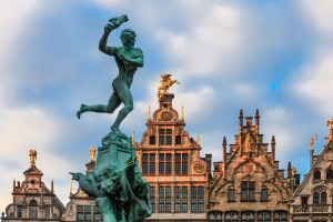 The Brabo fountain, created in 1887, in Antwerp's Grote Markt.
