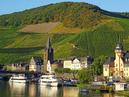 Bernkastel-Kues and its vineyards along the Moselle River.