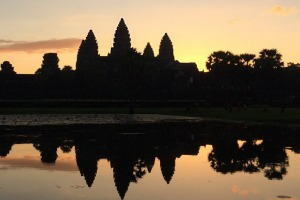 Watch dawn break over the towers of Angkor Wat.