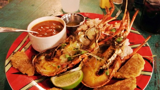 Vieques' lobster dish.