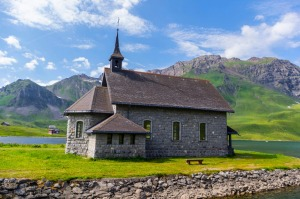 Chapel of Melchsee-Frutt in the Swiss Alps.