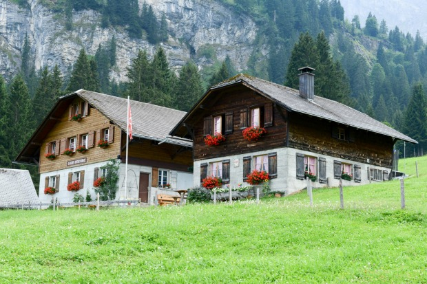 Chalet and cheese factory over Engelberg on the Swiss alps.