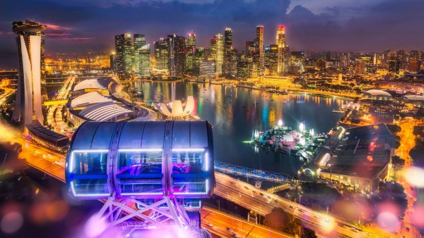 The world's most expensive city, as seen from the Singapore Flyer observation wheel.