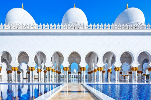 Sheikh Zayed Mosque in Abu Dhabi is one of the largest mosques in the world.