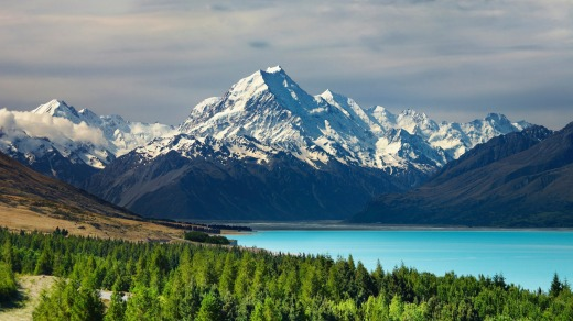 Mount Cook and Pukaki lake, New Zealand.