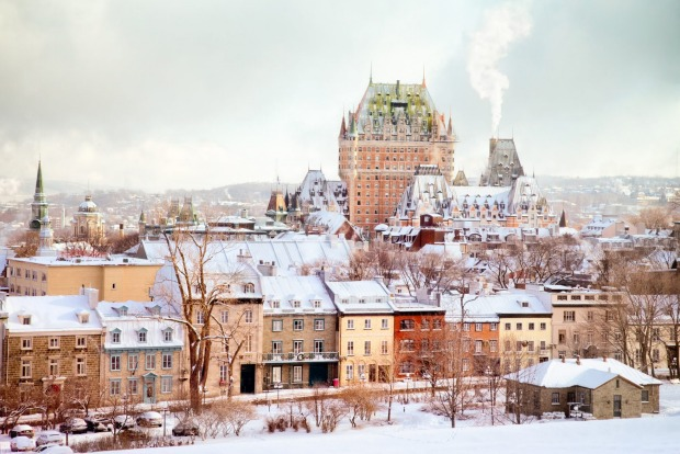 Quebec City Winter Skyline featuring the Chateau Frontenac tower.