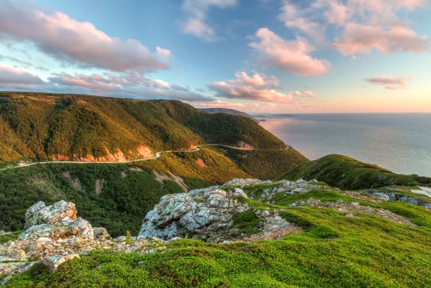 Skyline Trail at sunset in Cape Breton Highlands National Park, Nova Scotia.