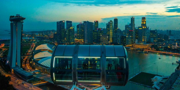 Singapore, is a vibrant city and one of the best views is from the Singapore Flyer where you enjoy the Marina Bay vista.