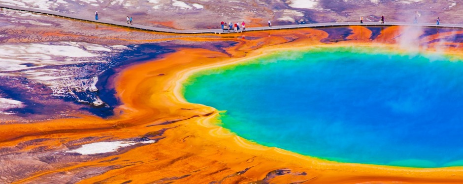The Grand Prismatic Spring in Yellowstone National Park.