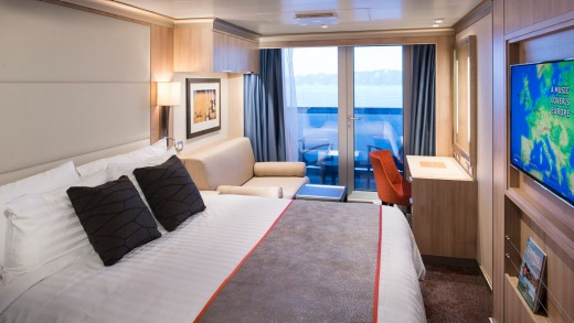 A verandah stateroom on the Koningsdam.