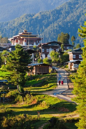 Morning light on the village of Gangtey, at the head of the Phobjikha Valley.