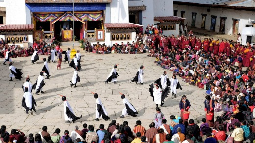 Children from Bayta Primary School perform the black-necked crane dance in the Phobjikha Valley, Bhutan.