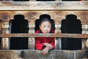 A monk at the window of the Gangtey Gompa Monastery.