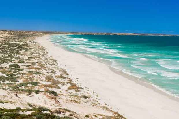 Sand dunes stretch into the distance along the coast of the Yorke Peninsula.