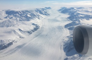 A glacier cutting a path across Antarctica.