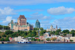 Quebec City skyline over the river.