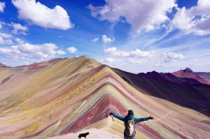 *** EXCLUSIVE ***  RAINBOW MOUNTAIN, PERU - SEPTEMBER 07: Linh Tran seen trekking on September 07, 2016 in Rainbow ...