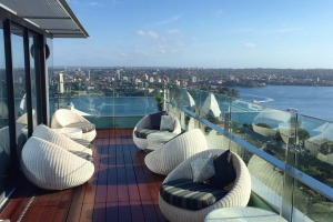 Incredible views: The wraparound terrace on level 32 Club Lounge, Intercontinental Sydney.