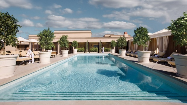 The rooftop pool and cafe at Montage Beverly Hills. There are also two ground-floor restaurants and bars at the hotel.