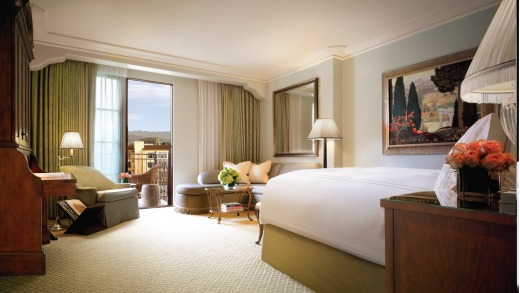 A guest room at the Montage Beverly Hills. The rooms are large, ornate and luxurious.