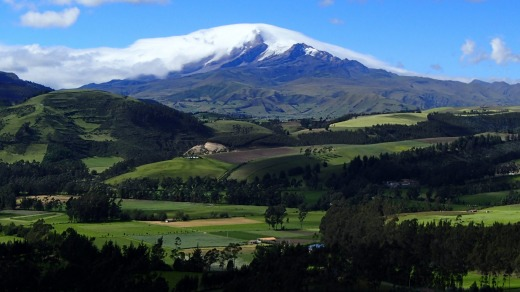 The volcanic snow-capped peak of Mount Cayambe.