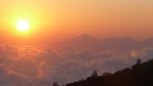 Mt Agung, Bali's tallest mountain, casts its  shadow over most of East Bali