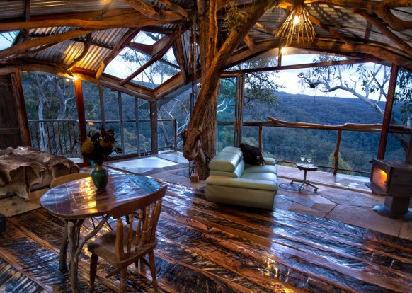 Secret Treehouse in the Wollemi Wilderness area of Bilpin, hovers 10 metres above the ground and is skilfully crafted ...