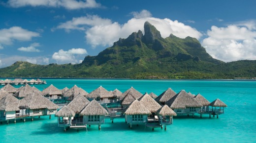 Overwater bungalows at the St Regis Bora Bora Resort.
