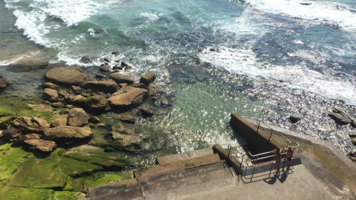 Early morning at Bondi Beach and the sun is already shining.