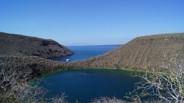 The Ocean Spray anchors at Tagus Cove, a small volcanic crater lake that offers beautiful views of the harbour.